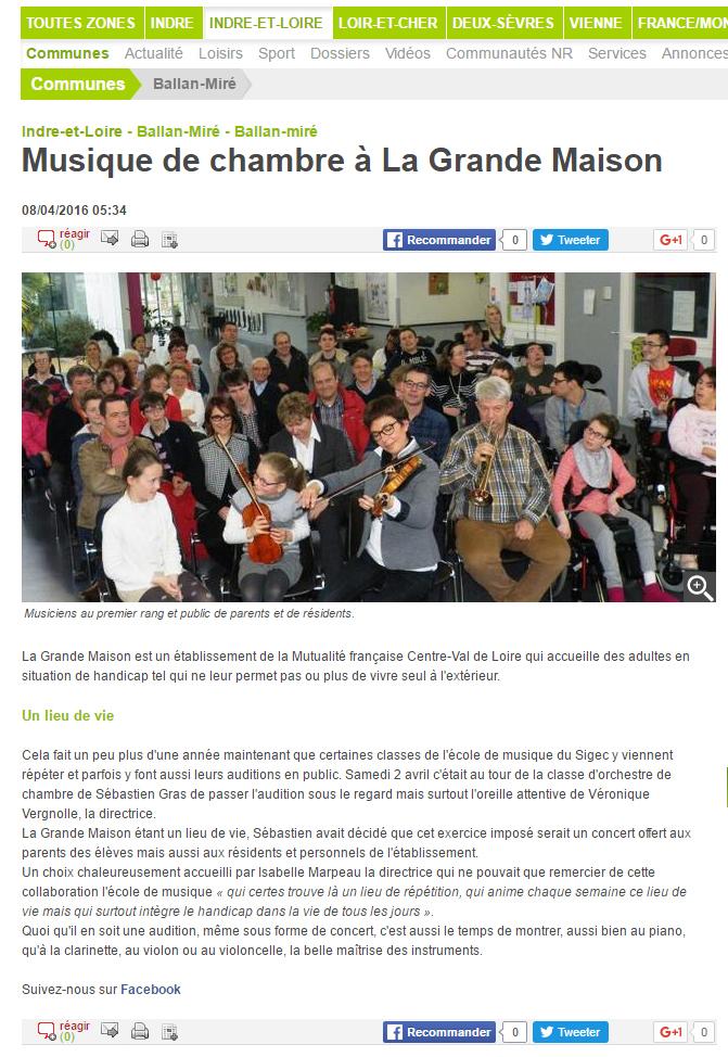 Musique de Chambre article de presse